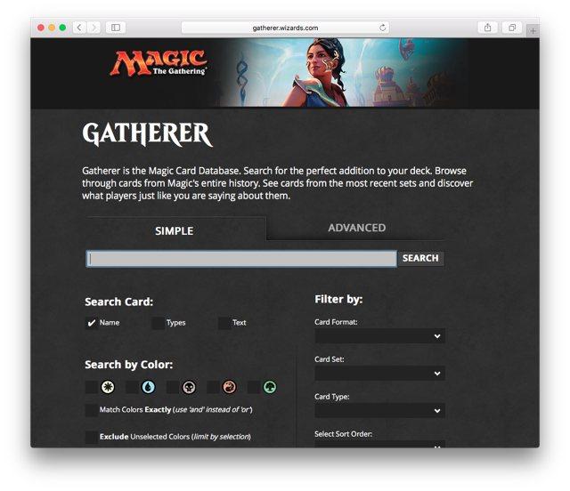 Gatherer —официальная база карт МТГ